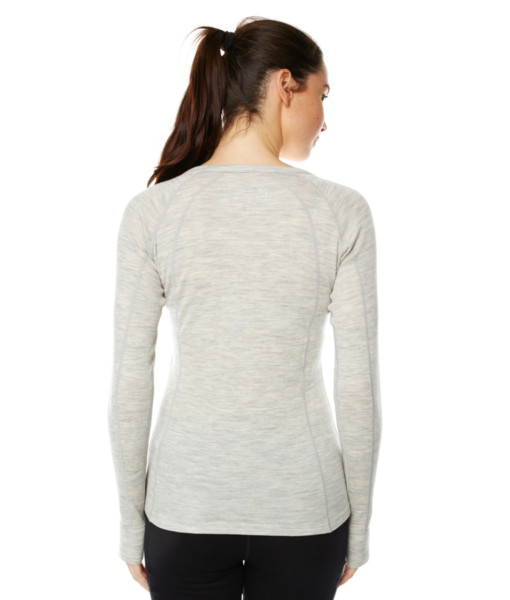 Womens Merino Wool Base Layer Crew Top Light Grey Marle Back