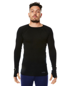 Mens Merino Wool Base Layer Crew Top Black
