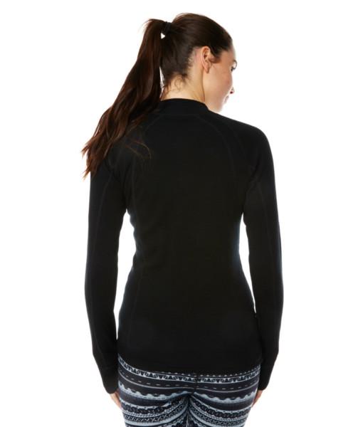 Dámské funkční merino zip triko černé záda