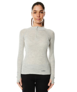 Womens Merino Wool Base Layer Zip Light Grey Marle