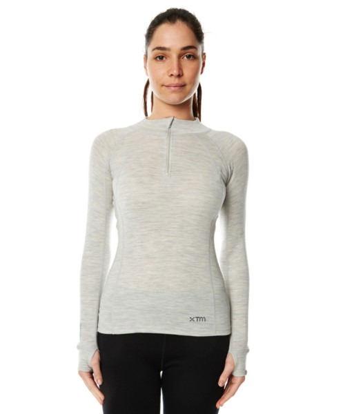 Womens Merino Wool Base Layer Zip Light Grey Marle