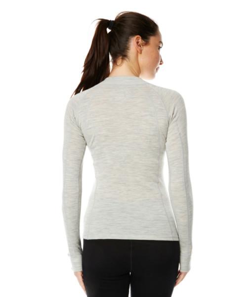 Dámské funkční merino zip triko šedé záda