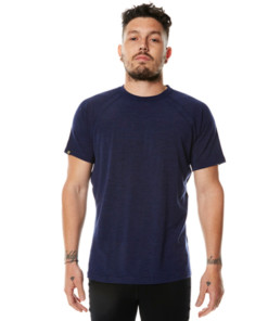 Pánské merino triko krátký rukáv modré