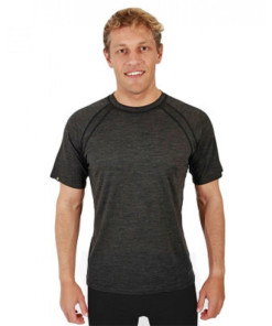 Pánské merino triko krátký rukáv šedé