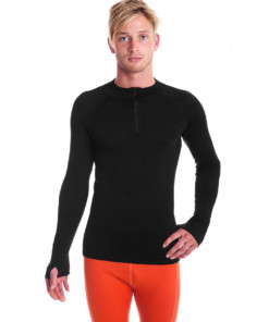 Men's Merino Wool Thermal Zip Neck Black