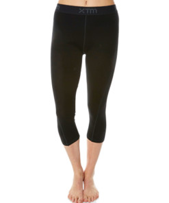 Womens Merino Wool Base Layer 3/4 Pants Black