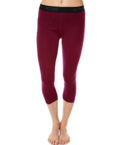 Womens Merino Wool Base Layer 3/4 Pants Boysenberry