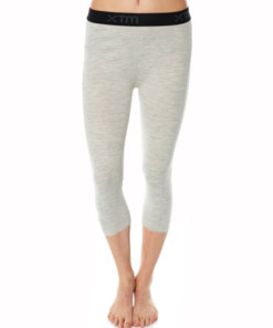 Womens Merino Wool Base Layer 3/4 Pants Light Grey Marle
