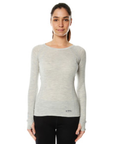 Womens Merino Wool Base Layer Crew Top Light Grey Marle