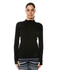 Womens Merino Wool Base Layer Zip Black