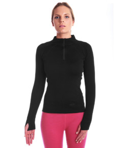 Womens Merino Wool Thermal Zip Neck